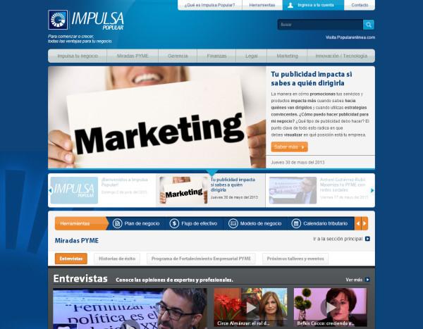 Diseño Web Y Maquetación Para Impulsa Banco Popular