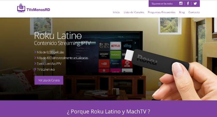 diseño web para tvxmenoscom Roku Latino y MachTV